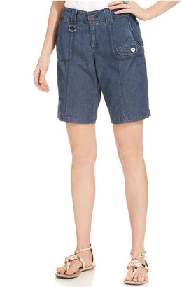 Style&Co. Shorts, Tummy-Control D-Ring Chambray