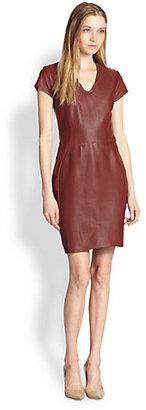 Diane von Furstenberg Teala Leather Sheath Dress