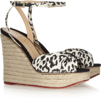 Charlotte Olympia Melody leopard-print cotton and rope wedge sandals