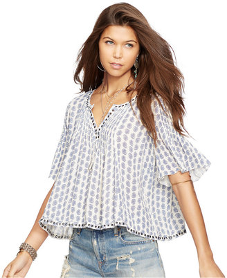 Denim & Supply Ralph Lauren Bell-Sleeve Floral-Print Peasant Top