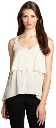 BCBGeneration chalk grey chiffon v-neck trapeze cut high-low camisole