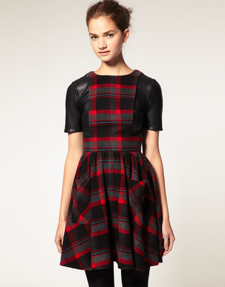 Asos Check Dress With Leather T-Shirt