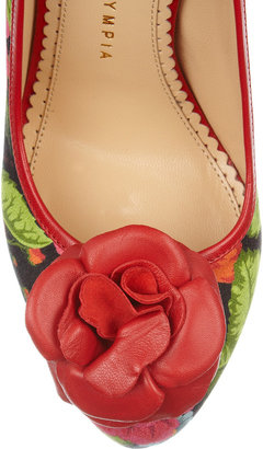 Charlotte Olympia Flora printed crepe-covered leather pumps