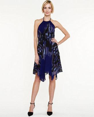 Le Château Abstract Print Halter Dress
