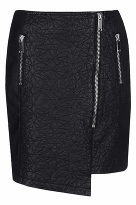 Topshop Black quilted front asymmetric wrap style skirt with chunky zip fastenings 100% viscose. machine washable.