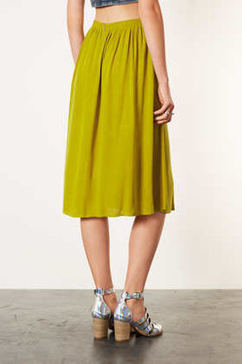 Topshop Olive Double Split Midi Skirt