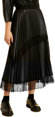 Marina Rinaldi Plus Size Cannes Pleated Faux-Leather Skirt with Lace