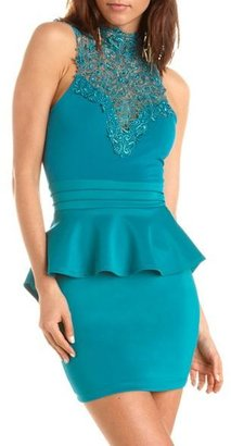 Charlotte Russe Delicate Lace-Top Peplum Dress