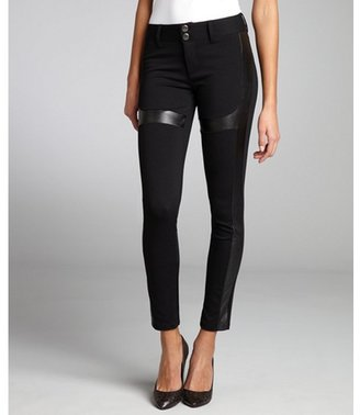 Romeo & Juliet Couture black stretch jersey knit and faux leather banded leggings