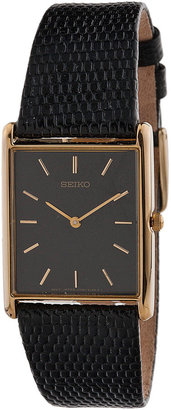 Seiko Black/Gold Reptile Skin Leather Band Watch