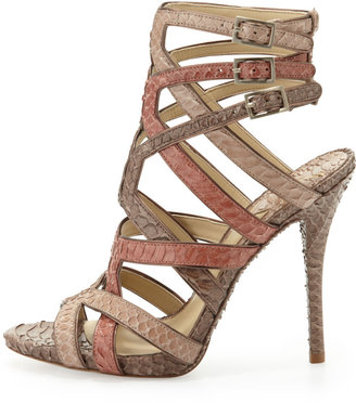 Brian Atwood Carbinia Triple-Buckle Snake Cage Sandal
