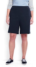 Lands' End Women's Plus Size Petite Sport Knit Shorts-White