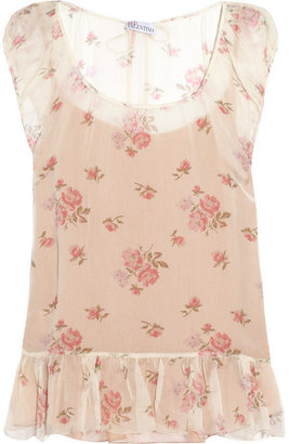 RED Valentino Floral-print silk-chiffon top