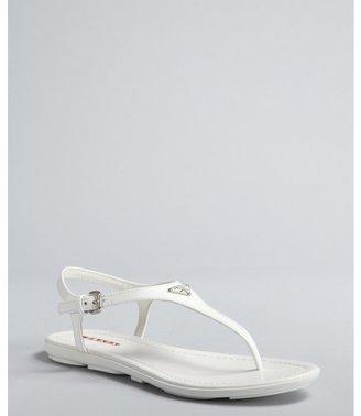 Prada Sport white patent leather logo thong sandals