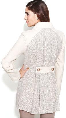 Kensie Herringbone Pleated Walker Coat