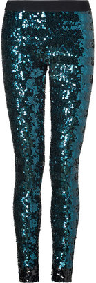 By Malene Birger Petrol/Black Allover Sequined Leggings