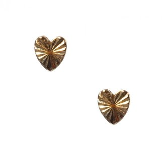 Bing Bang Tiny Heart Studs In Yellow Gold