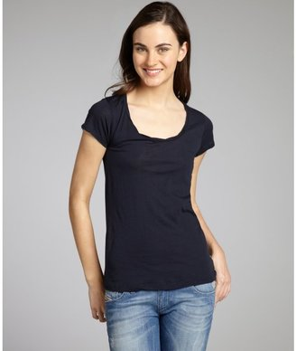 American Vintage navy cotton 'Louisiane' short sleeve t-shirt