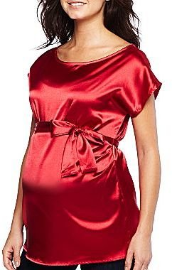 JCPenney Maternity Satin Side-Tie Woven Top