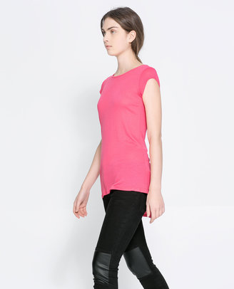 Zara T-Shirt With Asymmetric Hem