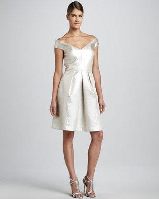 Kay Unger New York Animal-Jacquard Off-Shoulder Cocktail Dress