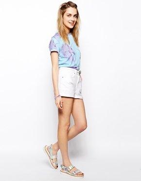 Asos Denim Mom Shorts in White - White