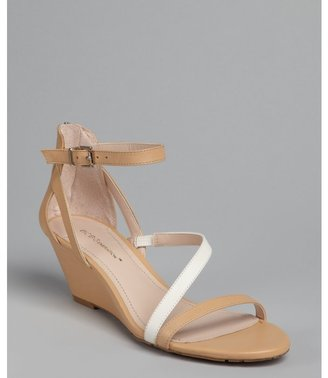 BCBGeneration nude and ivory leather strappy 'Vernna' wedge sandals