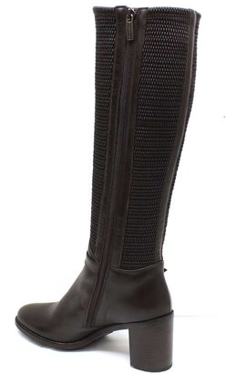 "Aquatalia by Marvin K Aquatalia ""Orsay"" Espresso (Brown) Leather and Fabric Knee-High Boots"