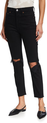 RE/DONE High-Rise Skinny Distressed Ankle Jeans