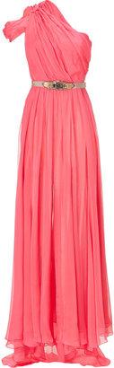 Matthew Williamson Coral One Shoulder Silk Gown