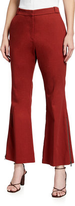 Toccin Side-Zipper Cropped Flare-Leg Pants