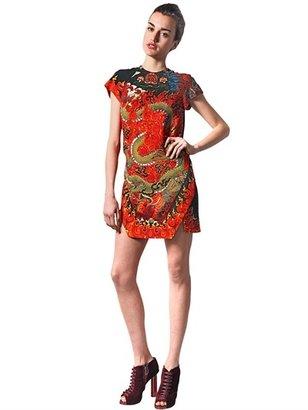 Just Cavalli Dragon Mandala Print Crepe Dress