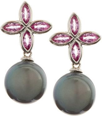 Belpearl 18k White Gold Pink Sapphire & Black Pearl Earrings