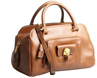 Tod's whiskey leather padlock front small convertible satchel