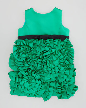 Milly Minis Rosette Satin Party Dress, Green