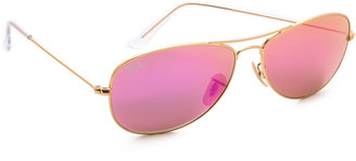 Ray-Ban Mirrored Shrunken Aviator Sunglasses $175 thestylecure.com