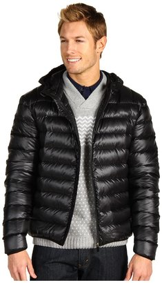 Lacoste Feather Weight Down Full Zip Hooded Jacket (Black) - Apparel