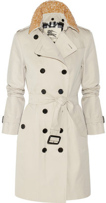 Burberry Embellished mid-length cotton-twill trench coat