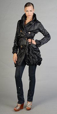eDressMe Black Crinkled Trench Coats