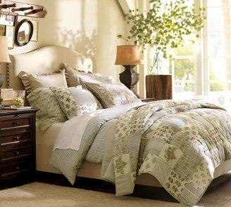 Pottery Barn Raleigh Upholstered Nailhead Camelback Tall Bed & Headboard