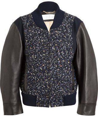 Chloé Boucle and Leather Bomber Jacket