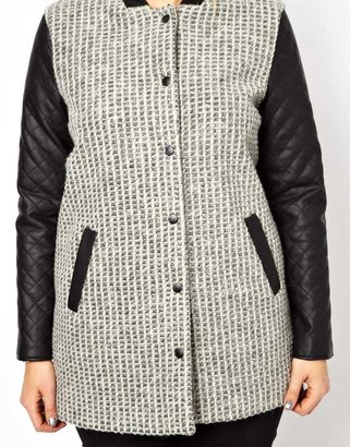 Asos Popper Front Coat With PU Sleeve