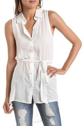 Charlotte Russe Belted Button-Down Tunic