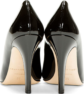 Brian Atwood Black Patent Leather Mary Pumps