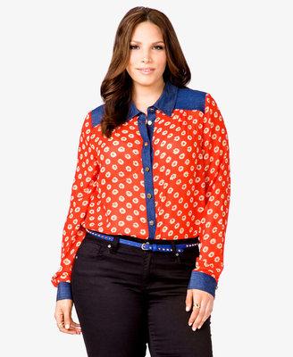 Forever 21 FOREVER 21+ Floral Chiffon & Denim Shirt