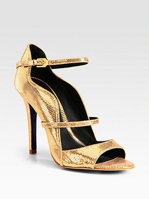 Rebecca Minkoff Penny Embossed Mary Jane Metallic Leather Sandals