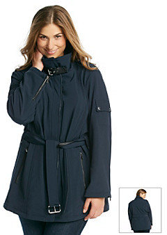 MICHAEL Michael Kors Size Short Belted Softshell Coat With Faux Leather Detailing