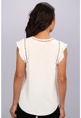 Rebecca Taylor S/L V-Neck Embroidered Circular Top