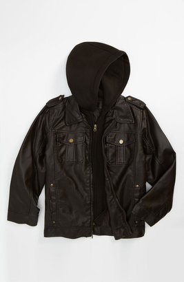 Black Rivet Faux Leather Jacket (Big Boys)