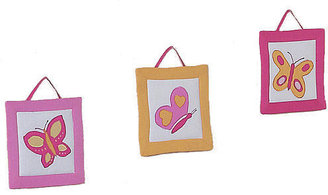 JoJo Designs Sweet Pink and Orange Butterfly Collection 3-Piece Plush Wall Hanging Set